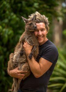 Chris with kangaroo